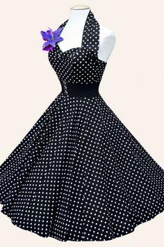 Vivien of Holloway - 50s Retro halter Black White Polkadot Spot dress cotton sateen