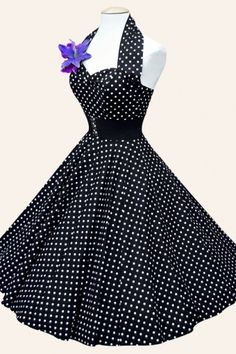 Vivien of Holloway - 50s Retro halter Black White Polkadot Spot dress cotton sateen