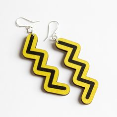 Earrings ZIG ZAG are printed onto 3 mm sustainably sourced Finnish birch plywood PEFC and FSC certified wood. Zig Zag, Plywood, Birch, Drop Earrings, Jewellery, Printed, Hardwood Plywood, Jewels, Schmuck