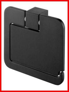 Bisk-Futura-Black-02961-Toilet-Roll-Holder-With-Cover-Black-Satin-Bathroom