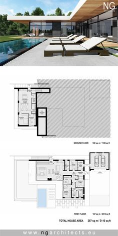 Villa in Bjared, Sweden. Design by NG architects www. Villa in Bjared, Sweden. Design by NG architects www. Villa in Bjared, Sweden. Design by NG… - New House Plans, Modern House Plans, House Floor Plans, Villa Plan, Modern Bungalow House, Modern Villa Design, Container House Design, Modern Architecture House, Architecture Tattoo