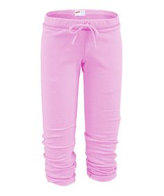 Look what I found on #zulily! Soft Pink Football Capri Pants - Women #zulilyfinds
