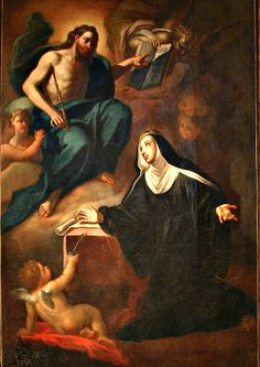 July 23 is the feast of St. Bridget (Birgitta) of Sweden – a widow and a Third Order Franciscan. St Bridget Of Sweden, Catholic Saints, It's Meant To Be, Religious Art, Cherub, Painting, Aesthetics, Gallery, Movies