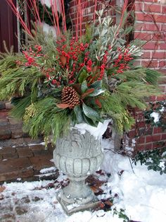 All Season Containers - traditional - porch - chicago - Small's Landscaping, Valparaiso, Indiana