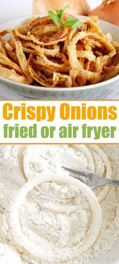 Homemade Crispy Fried Onions – Air Fryer Directions Too! Crispy fried onions can be deep fried in oil or you can make air fryer onion rings too! Want homemade French's fried onions, they're way better than canned! Air Fryer Recipes Appetizers, Air Fryer Recipes Breakfast, Air Fryer Dinner Recipes, Air Fryer Oven Recipes, Air Fryer Recipes Onion Rings, Recipe For Fried Onion Rings, Fried Onion Straws Recipe, Onion Rings Air Fryer, Fried Onions Recipe