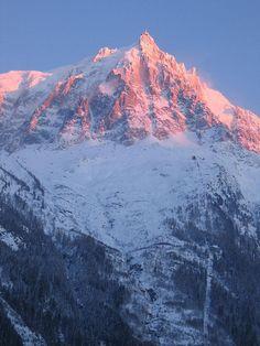 Aguille du Midi sunset (Chamonix, French Alps) - my favourite mountain.  Photo by trevor Wakins