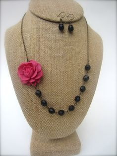 Statement Flower Necklace Black Jewelry Bridesmaid Gift Pink Necklace Wedding Jewelry on Etsy, $34.00