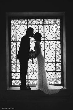 Couple silhouette in the San Francisco City Hall.