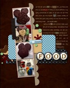 Disney Page! Or General Theme Park Food Page. I like the idea of this- showing all the different kinds of Mickey themed food you can get at the Disneyland. I think it would also work well with hats. Cruise Scrapbook, Disney Scrapbook Pages, Birthday Scrapbook, Scrapbook Paper Crafts, Scrapbooking Layouts, Scrapbook Cards, Scrapbook Photos, Paper Crafting, Disney Snacks
