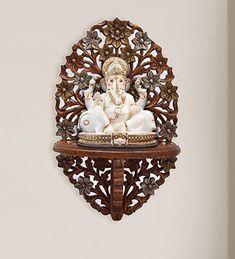 Temple Design For Home, Mandir Design, Pooja Mandir, Pooja Room Door Design, Wooden Street, Wooden Wall Shelves, Indian Furniture, Pooja Rooms, Wooden Hand