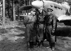 Pilots of the Baltic Air Fleet with a Yakovlev Yak-1 fighter
