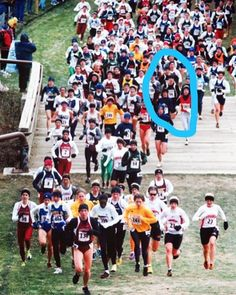 IG @karagoucher - #tbt to running the NCAA Cross Country championships in 2000. This photo was taken at the mile marker, I would end up winning the 6000 meter race by over 7 seconds. I've circled myself. Never change your race plan because of others. I knew in my heart I could win if I ran negative splits. I didn't panic when I was buried at the mile marker. Remember to have faith in yourself and your preparation. And then go get it!