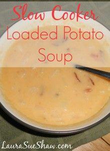 Slow Cooker Cheddar Bacon Potato Soup - laurasueshaw.com
