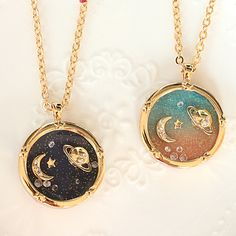 Harajuku galaxy universe planet saturn moon diamond the long necklace sweater chain