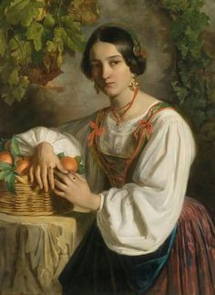 Johann (Giovanni) Endler (Salmow, Bohemia 1821-1851 Trieste) Young Roman Girl with Basket of Fruit.