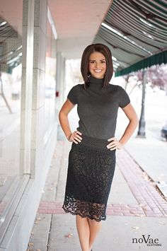 "Crocheted Black Skirt-  Kaley is Wearing a ""NUDE"" colored Slip under the thin black lining... you could wear a black slip for a different look. :)"