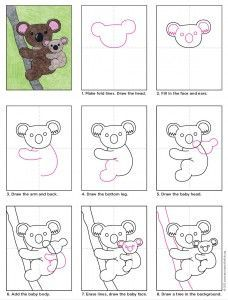 Easy Drawings Draw a Koala Bear · Art Projects for Kids - The only thing cuter than a koala is a koala and a baby. This koala drawing may look pretty detailed, but it's really just one shape drawn in two sizes. Drawing For Kids, Art For Kids, Children Drawing, Bear Drawing, Drawing Ideas, Projects For Kids, Art Projects, Art D'ours, Classe D'art