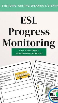Early Elementary Resources, Elementary Schools, Progress Monitoring, English Resources, Educational Leadership, Esl, Assessment, Sentences, Homeschool