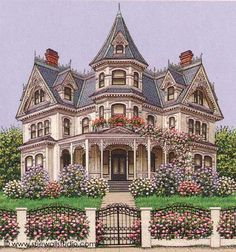 Sue Wall – Pet Portraits and Home Portraits – Traditional Miniature Paintings – Houses & Furniture - architecture house Victorian Architecture, Beautiful Architecture, Beautiful Buildings, Beautiful Homes, Classical Architecture, Victorian Style Homes, Victorian Era, Victorian Homes Exterior, Casas The Sims 3