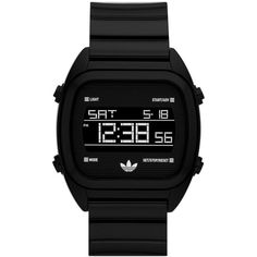 adidas Originals 'Sydney' Digital Resin Strap Watch, 40mm ($65) ❤ liked on Polyvore featuring jewelry, watches, accessories, fillers, black, digital wristwatch, clear watches, retro jewelry, retro watches and clear crystal jewelry