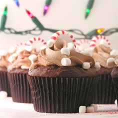 Peppermint Hot Chocolate Cupcakes made with hot chocolate mix Baking Cupcakes, Yummy Cupcakes, Cupcake Recipes, Cupcake Cakes, Cupcake Ideas, Cup Cakes, Dessert Recipes, Cupcake Flavors, Christmas Recipes