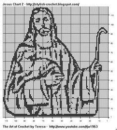 """Grille pour crochet filet ou point de croix  """"Jésus"""""""