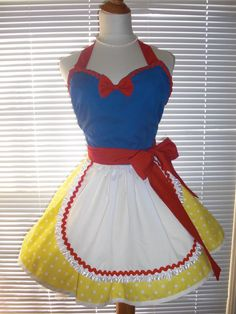 French Maid Apron Snow White Inspired Pin-up Retro Style Flirty Skirt Sweetheart Neckline on Etsy, $39.00