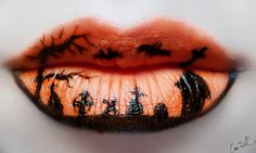 halloween schminke lippen orange gruselig
