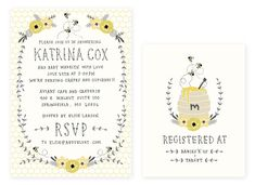 Baby Shower Invitation and Registry Card - Honey Bee. Baby Girl OR Baby Boy. $65.00, via Etsy.