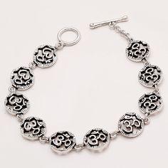 925 Sterling Silver Spiritual OM Bracelet Ethnic Regional Good Luck Fine Jewelry #Handmade #GoodLuck #EidGifts