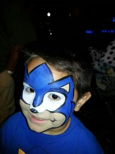 Awesome & ez Sonic the Hedgehog face paint design.