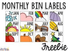 Organizing Monthly Materials {Monthly Bin Labels FREEBIE!}