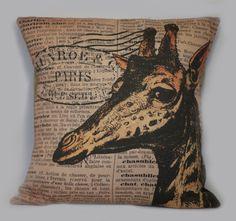 Vintage Safari Theme Giraffe Postal French by ElliottHeathDesigns, $43.00