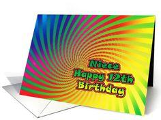 Happy 12th Birthday Niece ~ Cash Gift, dizzy rainbow card