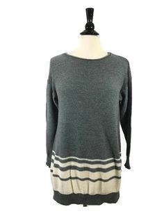 DAISY FUENTES Size L Large Womens Long Sleeve Sweater Tunic Top Gray Natural EUC #DaisyFuentes #Tunic #Casual