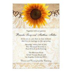 Rustic Sunflower Twine Wedding Invitation