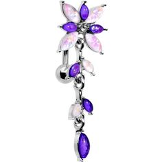 White Purple Gem Frosted Flower Trail Top Mount Dangle Belly Ring