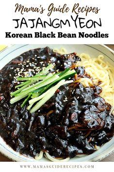 Jajangmyeon Recipe - Korean Noodles in Black Bean Sauce. This made simple recipe. Jajangmyeon Recipe – Korean Noodles in Black Bean Sauce. This made simple recipe, is sweet and sa Easy Korean Recipes, Asian Recipes, Mexican Food Recipes, Healthy Recipes, Healthy Food, Delicious Recipes, Asian Desserts, Korean Black Bean Noodles, Korean Noodles