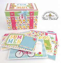 Doodlebug Design Inc Blog: Sunkissed Collection: Scrapbox Mini Album by Traci Penrod.