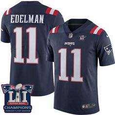 Men's Nike New England Patriots #11 Julian Edelman Limited Navy Blue Rush Super Bowl LI Champions NFL Jersey