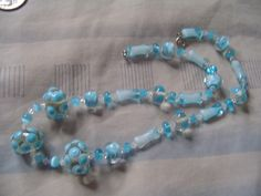 VINTAGE necklace blue china on