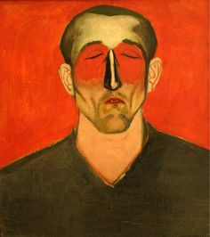 Andrzej Wróblewski, Man's Head on Red Background, 1957 Internet Art, Season Of The Witch, Apps, Found Art, Unusual Art, Abstract Portrait, Red Background, Figurative Art, Painting Techniques