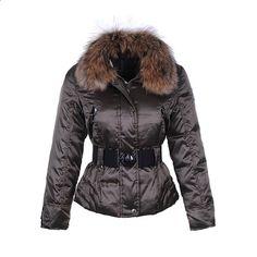 Women Moncler Grigio Fashion Fur Collar Jacket