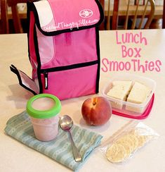 lunch box smoothies: sending a frozen smoothie in the lunchbox is not only fun and yummy, it takes the place of an ice pack and keeps the lunch cold.