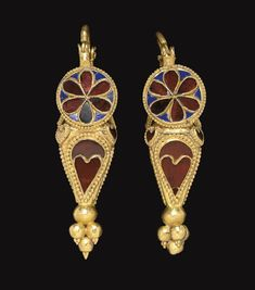 Parthian Gold, Garnet & Glass Earrings, Circa 1st-2nd Century AD