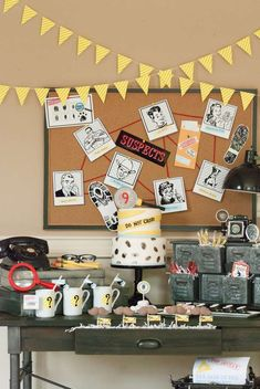Dessert table at a detective birthday party! We love this idea for a birthday party.