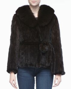 Belted Mink Fur Jacket with Fox-Trim by Belle Fare at Neiman Marcus.