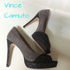 Vince Camuto pumps Never worn. Sparkly two-toned gunmetal and black. Sexy, dramatic and gorgeous  Vince Camuto Shoes Heels