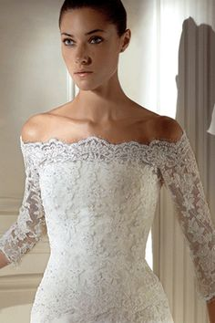 pretty neckline, would like sleeves a little shorter, not much, and lace a little less heavy, more airy