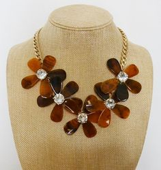 Tortoise shell flower necklace crystal statement necklace fashion sweater necklace  bridesmaids necklace